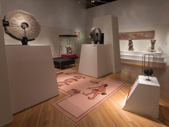 Ballgame rings and codex image of the court in Aztecs: Conquest and glory. Photo Norman Heke, 2013