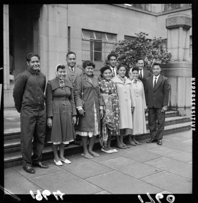 EP/1964/1760-F Group of young men and women from the Tokelau Islands who came to live in Wellington. From left to right: Lele Tanu, Suisana Lemisio (nee Perez), Eneliko Tovio, Hinalagi Maka, Ianeta Baker (nee Tinielu), Lui Tufala, Kailua Teilo, Filika Tato (nee Lomano), Akileo Manuele and Savelio Lomano. Photograph taken circa 26 May 1964 by an unidentified Evening Post staff photographer.
