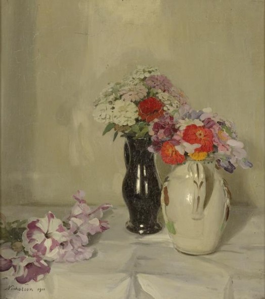 Zinnias, 1911, United Kingdom. Nicholson, William. Gift of the National Art Collections Fund, London, 1954. Te Papa
