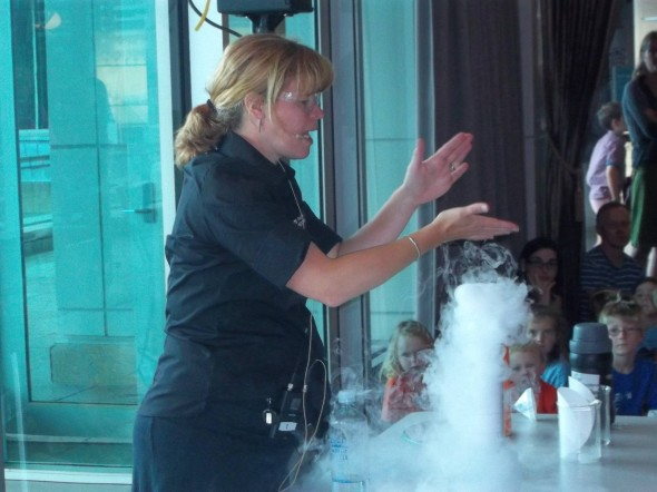 Mel demonstrating some 'cool' science with dry ice. © Te Papa