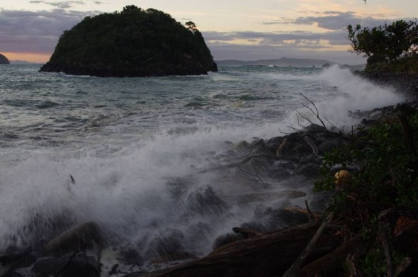 Large waves redistribute the shoreline boulders on Ohinau Island, February 2014. Image: Colin Miskelly, Te Papa