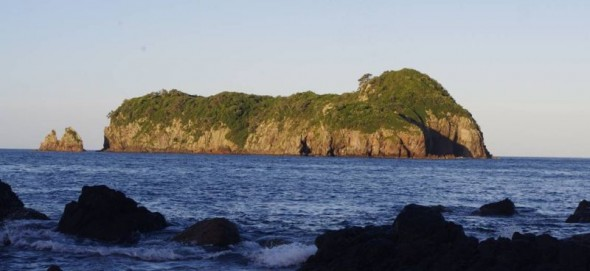 Ohinauiti Island viewed from Ohinau Island at dusk. Image: Colin Miskelly, Te Papa