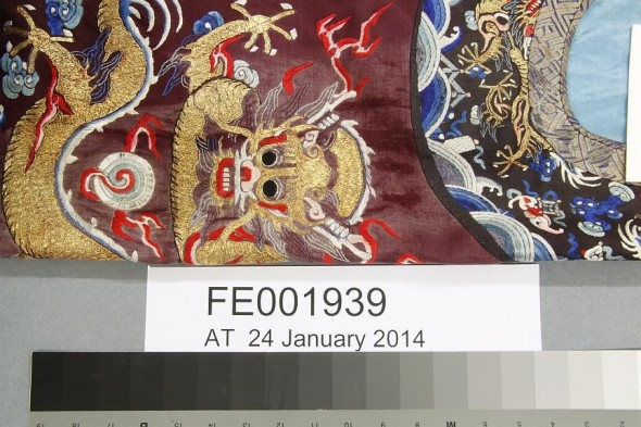 Close up of the Chinese dragon robe. Photographer: Anne Peranteau © Te Papa