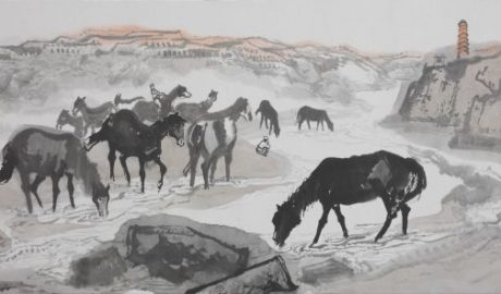 Shi Lu's Horses drinking at Yan River - draft 4