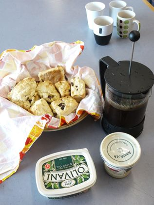 Installation teams respect the needs of art as well as their sanity. Morning tea, scones courtesy of Phillipa.