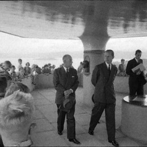 The Duke of Edinburgh at Mt Victoria lookout, Wellington, 1975. Photograph by Brian Brake, 1956. Gift of Mr Raymond Wai-man Lau, 2001. E.4415. Te Papa.