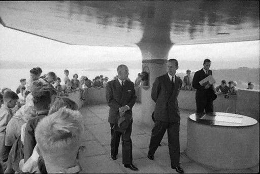 The Duke of Edinburgh at Mt Victoria lookout, Wellington, 1956. Photograph by Brian Brake, 1956. Gift of Mr Raymond Wai-man Lau, 2001. E.4415. Te Papa.