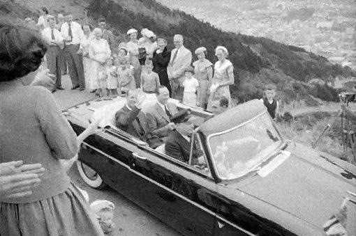 The Duke of Edinburgh departing Mt Victoria lookout, Wellington, 1956. Photograph by Brian Brake, 1956. Gift of Mr Raymond Wai-man Lau, 2001. E.4415. Te Papa.