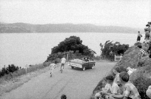 Departure of Duke of Edinburgh from lookout, Mt Victoria, Wellington, 1956. Photograph by Brian Brake. Gift of Mr Raymond Wai-man Lau, 2001. E.4414. Te Papa.