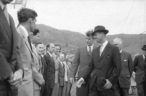 The Duke of Edinburgh at Lyttelton wharf with Hillary, 1956. Photograph by Brian Brake. Gift of Mr Raymond Wai-man Lau, 2001. E.4425/20. Te Papa.