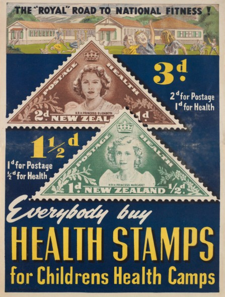 """Poster, 'The """"Royal"""" Road To National Fitness!'; 1943; C. M. Banks Ltd.  Purchased 2001.  Te Papa"""
