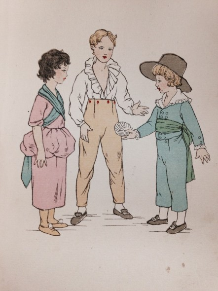 Illustration of children's clothing, 1775 in English Children's Costume (1935) by Iris Brooke.