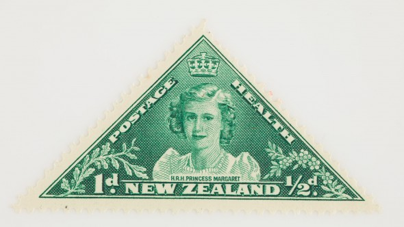 One penny + halfpenny Health stamp, 1943.  Gift of the New Zealand Post Office, 1943.  Te Papa