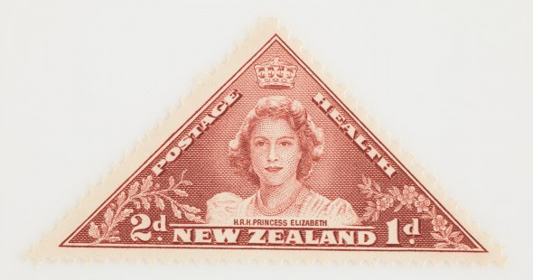 Two pence + one penny Health stamp, 1943.  Gift of the New Zealand Post Office, 1943.  Te Papa