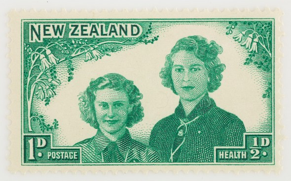 One penny + halfpenny Health stamp, 1944.  Gift of the New Zealand Post Office, 1944.  Te Papa