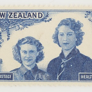Two pence + one penny Health stamp, 1944.  Gift of the New Zealand Post Office, 1944.  Te Papa