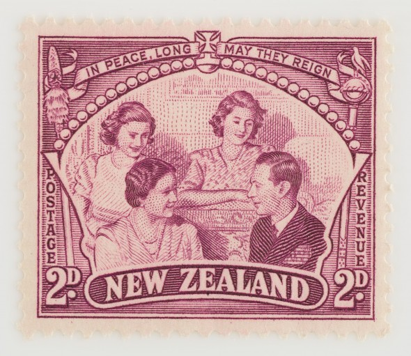 Two pence Peace Issue stamp, 1946.  Gift of the New Zealand Post Office, 1946.  Te Papa