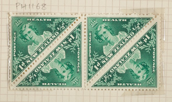 One penny + halfpenny Health stamp block, 1943.  Gift of New Zealand Post, 1992.  Te Papa
