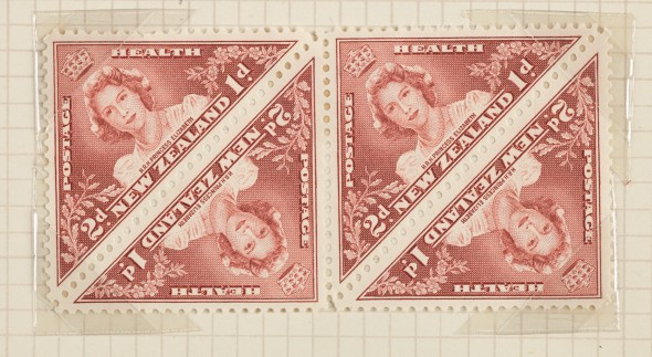 Two pence + halfpenny Health stamp block, 1943.  Gift of New Zealand Post, 1992. Te Papa