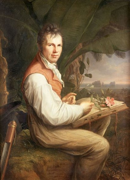 Alexander von Humboldt studying one of the plants he and his colleague Aimé Bonpland collected during their famous trip to South America. Painting by Friedrich Georg Weitsch (1806). Photo: http://de.wikipedia.org/wiki/Alexander_von_Humboldt