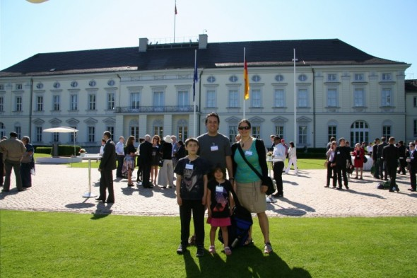 My family and I at the Schloss Bellevue, the official residence of the President of Germany, at a reception during the Alexander von Humboldt annual meeting in June 2013, Berlin, Germany.