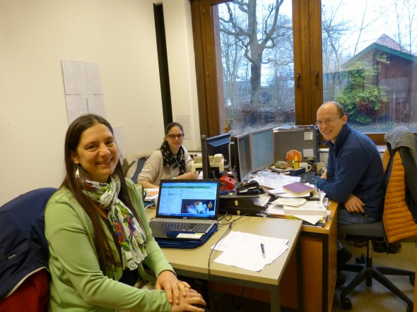 Here I am in the office I shared with graduate student Lillian Lee-Müller and lab manager Eike Mayland-Quellhorst at the University of Oldenburg, Germany. Photo by Silvia Kempen.