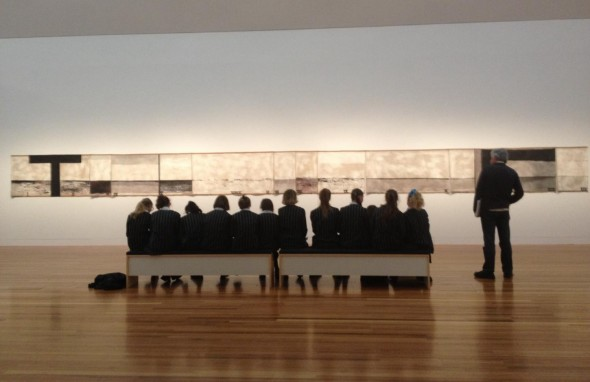 Greg and a group from Queen Margaret College take in Walk (Series C). Photographer: Helen Lloyd © Te Papa