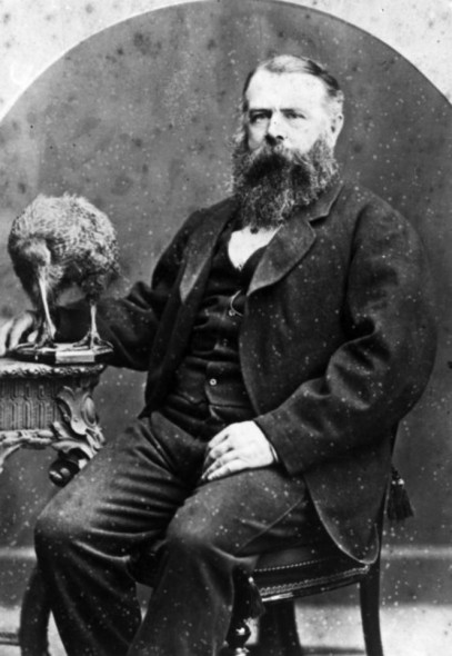 Thomas Potts, c.1875, alongside the type specimen of the great spotted kiwi (Apteryx haastii), which Potts named in 1872. Image 1/2-005225-F, National Library of New Zealand