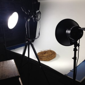 Photography set up for a hank of coconut fibre (sennit) cord.