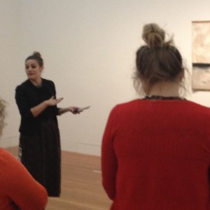 Chelsea Nichols and teachers viewing Colin McCahon's Walk Series C in Nga Toi | Art Te Papa. Photographer - Helen Lloyd. © Te Papa