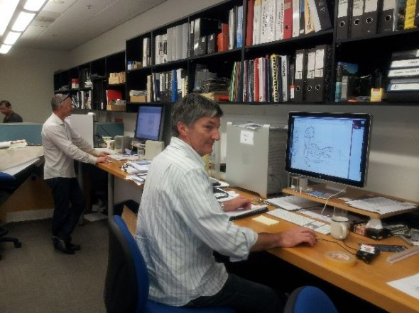Wol Jobson (2D designer) and Craig Turvey (3D designer) at work in the design studio