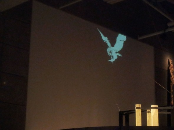 View from outside the exhibition space- testing projections