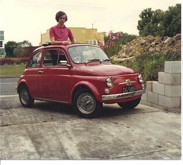 Todd Niall with his freshly purchased 1968 Bambina which he still drives today, 1976 © Todd Niall