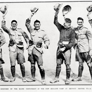 """HURRAH FOR THE KING: MEMBERS OF THE MAORI CONTINGENT IN THE NEW ZEALAND CAMP AT ZEITOUN BEFORE THEIR DEPARTURE TO MALTA.""  Taken from the supplement to the Auckland Weekly News 27 May 1915 p 43 (Image courtesy of Auckland Libraries)"