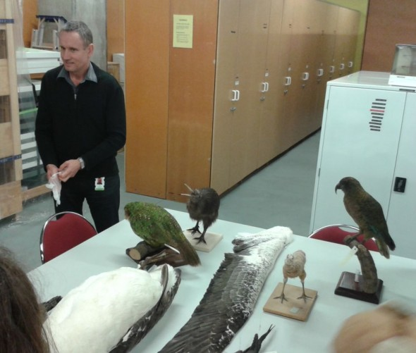 Vertebrates Curator, Colin Miskelly welcomes students from Makara Model School to the Te Papa science collection store.