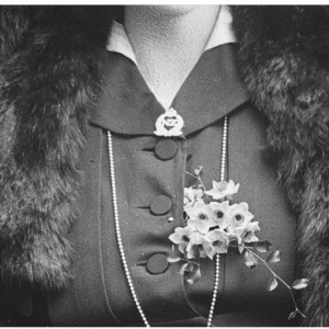 Daisy Browne wears an New Zealand Expeditionary Force 'sweet heart' brooch.