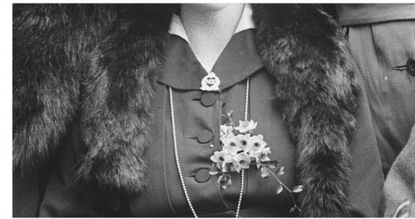 Daisy Browne wears a New Zealand Expeditionary Force 'sweet heart' brooch.