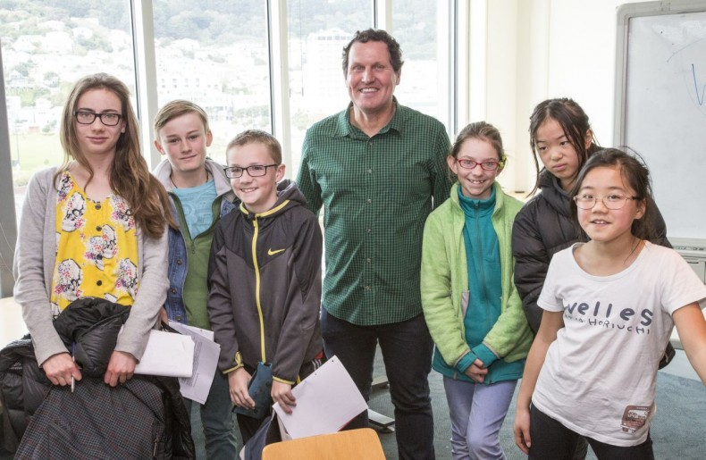 Dave Armstrong worked with a group of students from his old school, Brooklyn School. Photographer: Norm Heke © Te Papa