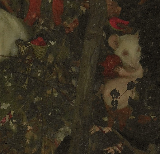 Frank Craig, Goblin market (detail of white mouse and frog), 1911