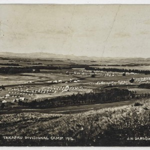 Takapau Divisional Camp 1914, photographic postcard, Hawke's Bay, by James Daroux, Te Papa PS.003297