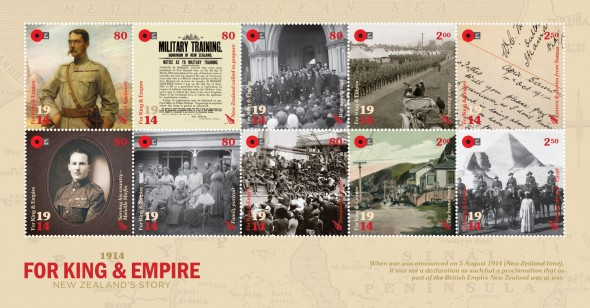New Zealand Post's 2014 WW1 stamp issue – 1914 For King and Empire. Courtesy New Zealand Post