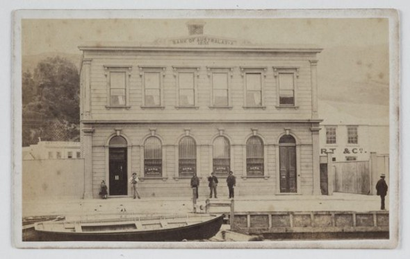 Bank of Australasia, circa 1870, New Zealand. Photographer unknown. Te Papa O.005412