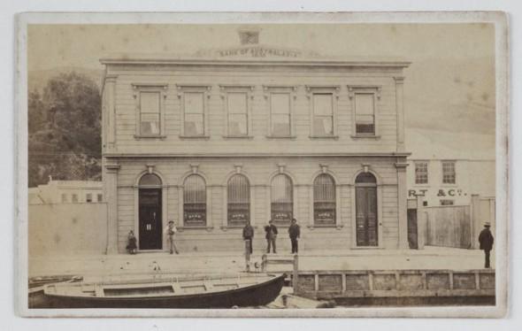 Bank of Australasia, circa 1870, New Zealand. Photographer unknown. Te Papa O.005412