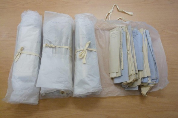 Bundles of James Hector's bills are held in Te Papa's archive. Photo: Simon Nathan.