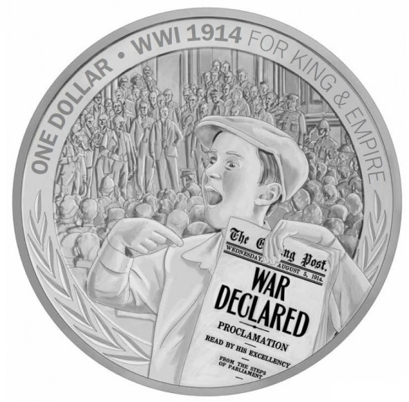 Silver Proof Coin – The Announcement of War. Courtesy New Zealand Post