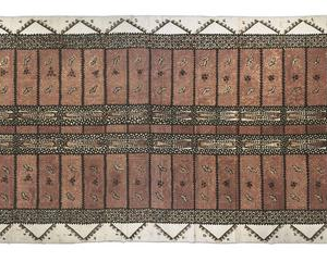 Ngatu Pepa [Vilene Tapa], 03.1996, Upper Hutt. Ilo Me'a Fo'ou (New Creations) - Tongan Womans Group. Purchased 1997 with New Zealand Lottery Grants Board Funds. Te Papa
