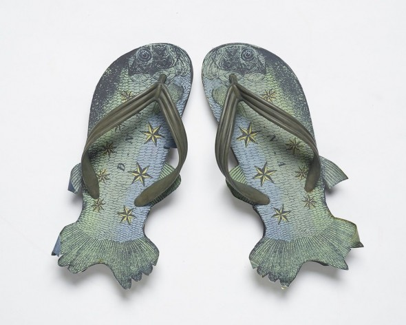 Fish Jandals designed by DNA, and manufactured by Skellerup Industires, 1995. Rubber, screenprinted fabric, paint. Purchase 2009.