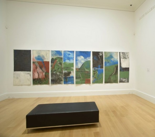 The painting installed in the gallery. This image has All Rights Reserved. Image © Courtesy of the Colin McCahon Research and Publication Trust