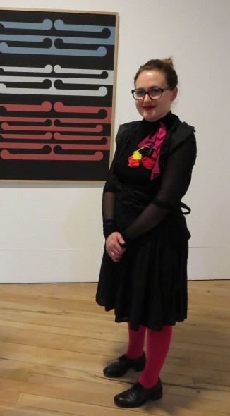 Te Papa Curator Sarah Farrar at the opening of the Gordon Walters: Koru exhibition at the Percy Thomson Gallery, Stratford.