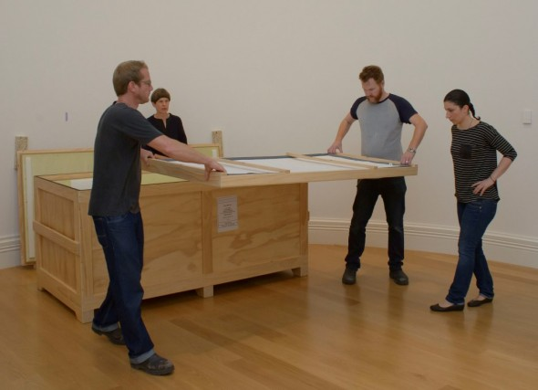 Unpacking the panels from the crate. Image courtesy of Auckland Art Gallery Toi o Tamaki